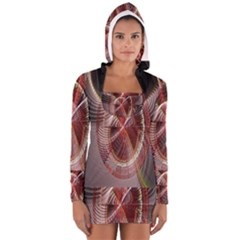 Fractal Fabric Ball Isolated On Black Background Women s Long Sleeve Hooded T-shirt