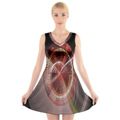 Fractal Fabric Ball Isolated On Black Background V Neck Sleeveless Skater Dress