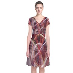Fractal Fabric Ball Isolated On Black Background Short Sleeve Front Wrap Dress