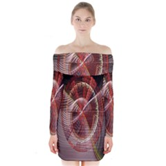 Fractal Fabric Ball Isolated On Black Background Long Sleeve Off Shoulder Dress