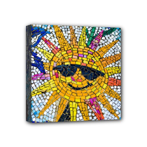 Sun From Mosaic Background Mini Canvas 4  X 4