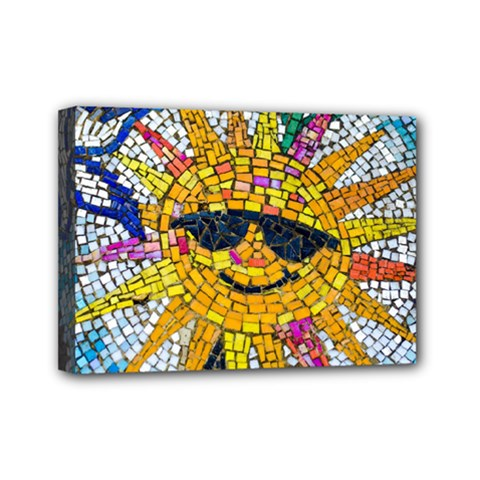 Sun From Mosaic Background Mini Canvas 7  x 5