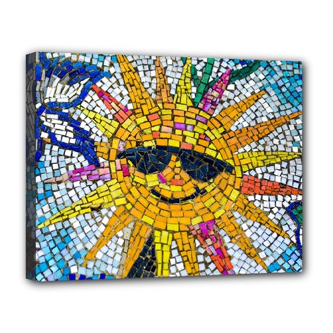 Sun From Mosaic Background Canvas 14  x 11