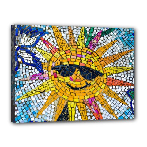 Sun From Mosaic Background Canvas 16  X 12