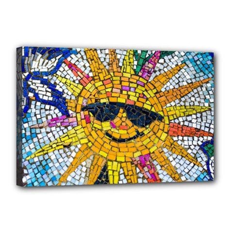Sun From Mosaic Background Canvas 18  x 12