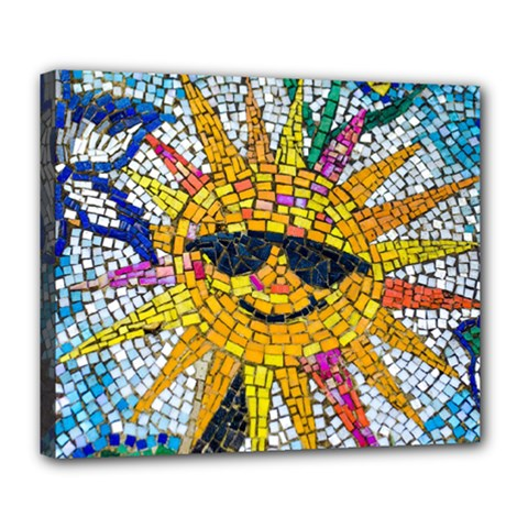 Sun From Mosaic Background Deluxe Canvas 24  x 20