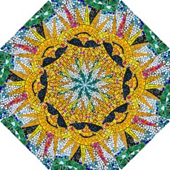 Sun From Mosaic Background Hook Handle Umbrellas (Small)