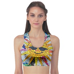 Sun From Mosaic Background Sports Bra