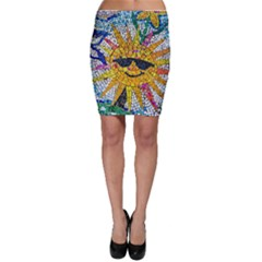 Sun From Mosaic Background Bodycon Skirt