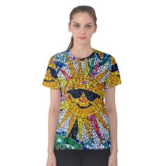 Sun From Mosaic Background Women s Cotton Tee