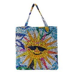 Sun From Mosaic Background Grocery Tote Bag