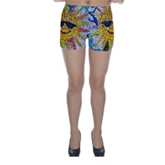 Sun From Mosaic Background Skinny Shorts