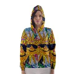 Sun From Mosaic Background Hooded Wind Breaker (Women)