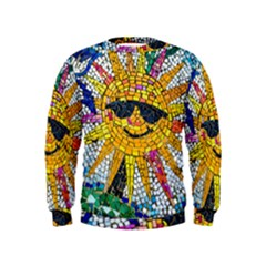 Sun From Mosaic Background Kids  Sweatshirt