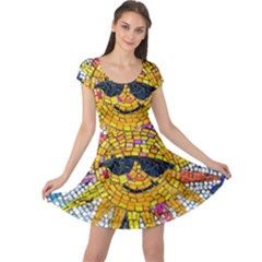 Sun From Mosaic Background Cap Sleeve Dresses