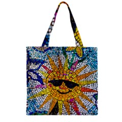 Sun From Mosaic Background Zipper Grocery Tote Bag