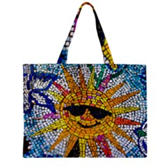 Sun From Mosaic Background Zipper Mini Tote Bag