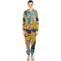 Sun From Mosaic Background Hooded Jumpsuit (Ladies)