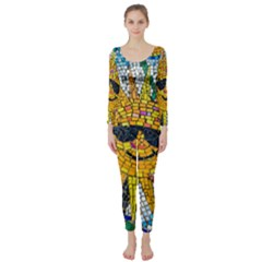 Sun From Mosaic Background Long Sleeve Catsuit