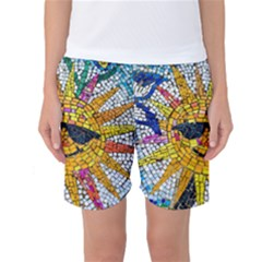 Sun From Mosaic Background Women s Basketball Shorts