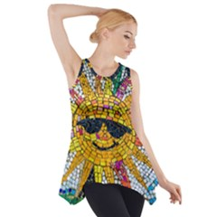 Sun From Mosaic Background Side Drop Tank Tunic
