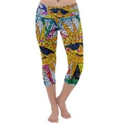 Sun From Mosaic Background Capri Yoga Leggings