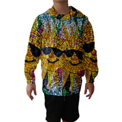 Sun From Mosaic Background Hooded Wind Breaker (kids)