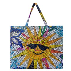 Sun From Mosaic Background Zipper Large Tote Bag