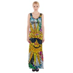 Sun From Mosaic Background Maxi Thigh Split Dress