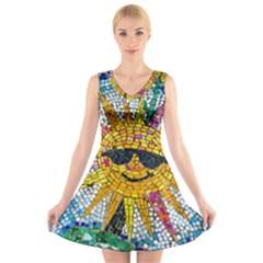 Sun From Mosaic Background V-Neck Sleeveless Skater Dress