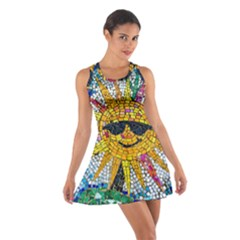 Sun From Mosaic Background Cotton Racerback Dress