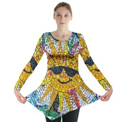 Sun From Mosaic Background Long Sleeve Tunic
