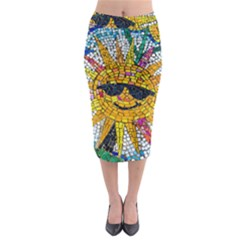 Sun From Mosaic Background Midi Pencil Skirt