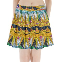Sun From Mosaic Background Pleated Mini Skirt