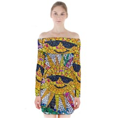 Sun From Mosaic Background Long Sleeve Off Shoulder Dress