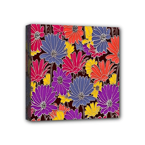 Colorful Floral Pattern Background Mini Canvas 4  X 4