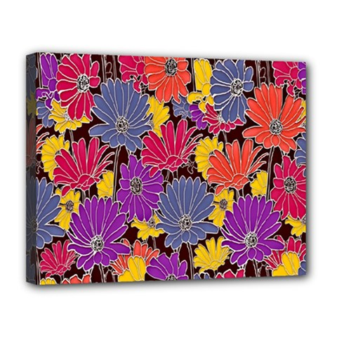Colorful Floral Pattern Background Canvas 14  X 11