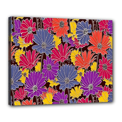 Colorful Floral Pattern Background Canvas 20  X 16