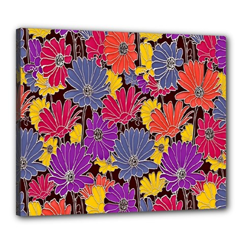 Colorful Floral Pattern Background Canvas 24  x 20