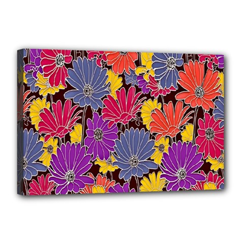 Colorful Floral Pattern Background Canvas 18  x 12
