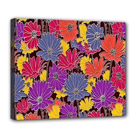 Colorful Floral Pattern Background Deluxe Canvas 24  x 20