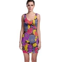 Colorful Floral Pattern Background Sleeveless Bodycon Dress