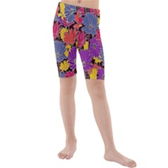 Colorful Floral Pattern Background Kids  Mid Length Swim Shorts