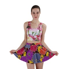 Colorful Floral Pattern Background Mini Skirt