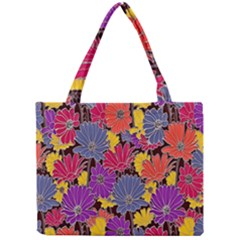 Colorful Floral Pattern Background Mini Tote Bag