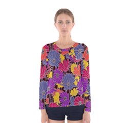 Colorful Floral Pattern Background Women s Long Sleeve Tee