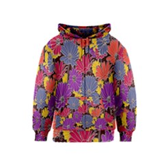 Colorful Floral Pattern Background Kids  Zipper Hoodie