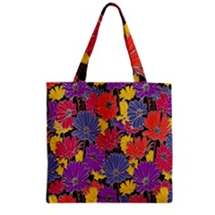 Colorful Floral Pattern Background Zipper Grocery Tote Bag