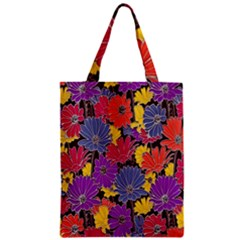 Colorful Floral Pattern Background Zipper Classic Tote Bag