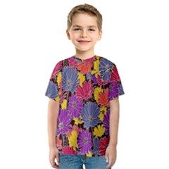 Colorful Floral Pattern Background Kids  Sport Mesh Tee